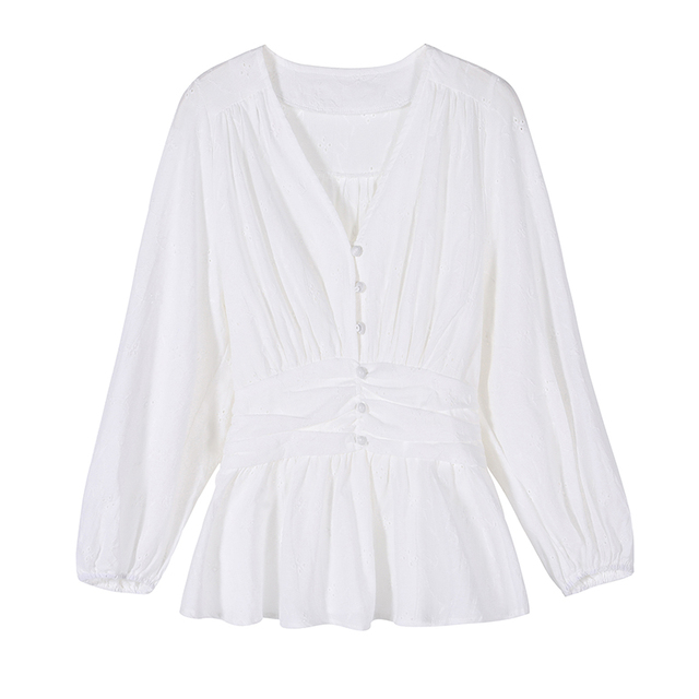 V-neck Shirt Woman Solid White Lace Top Sweet Blouse Women 2021 Autumn Chic Long Sleeve Office Lady Clothing with Button 10539 6