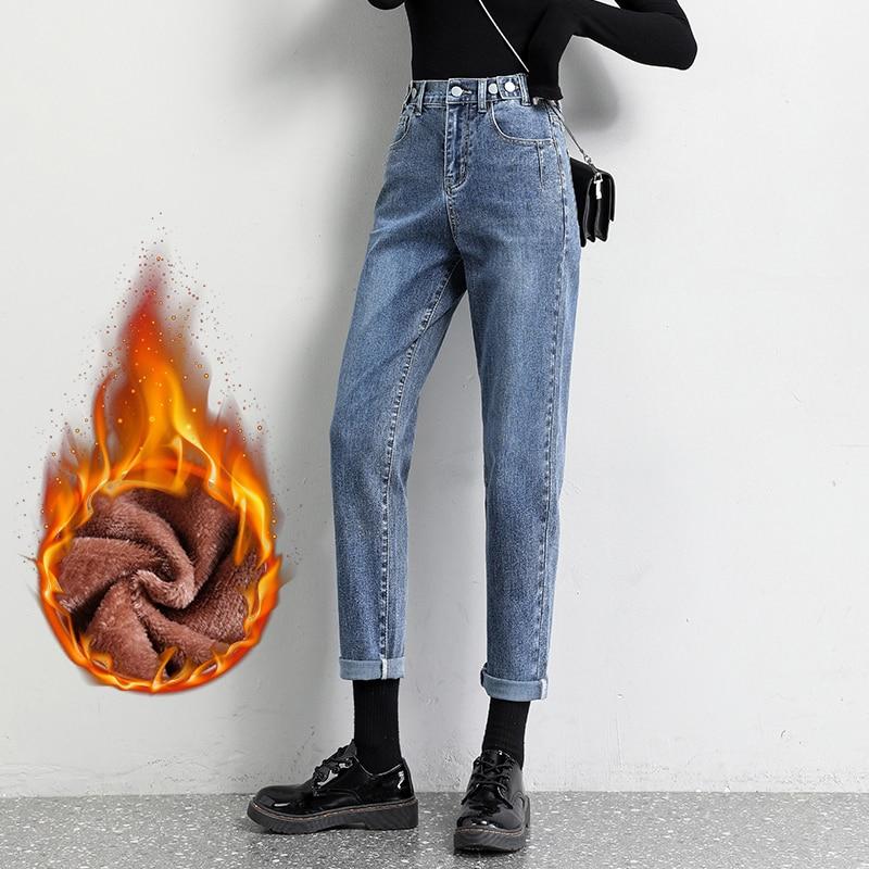 Женские утепленные джинсы Harlan, зимние прямые свободные брюки с девятью точками, 2020 тонкие кашемировые шаровары с завышенной талией для женщин
