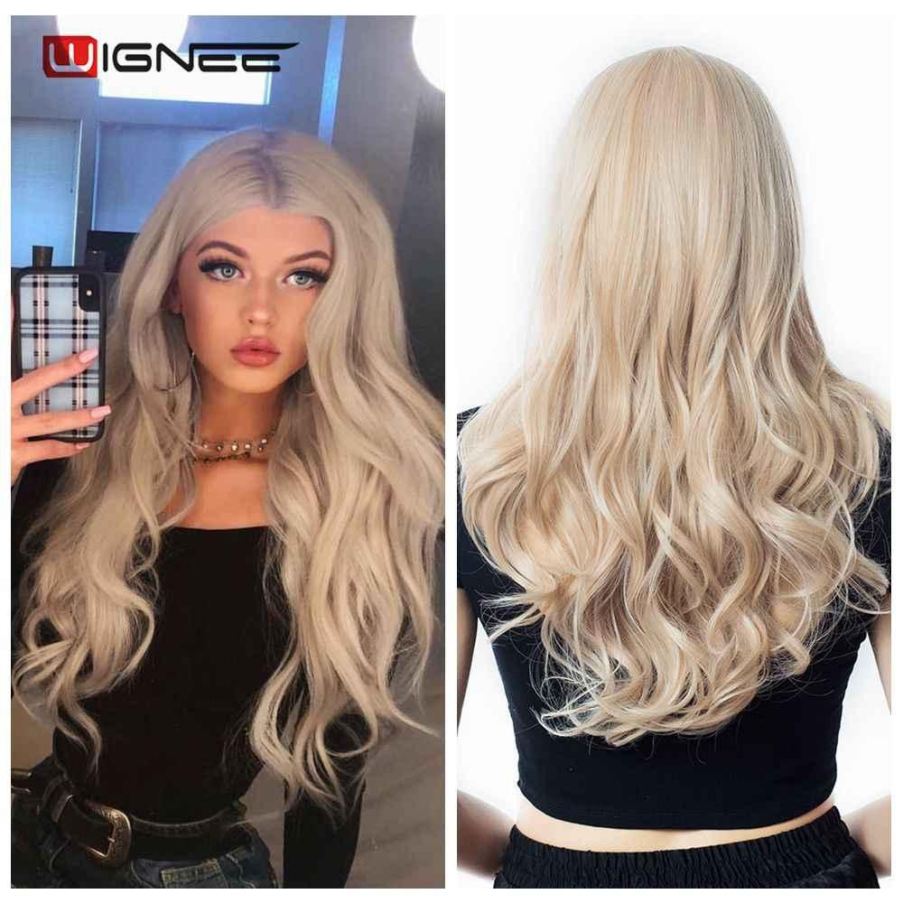 Wignee karışık kül sarışın orta kısmı uzun dalgalı peruk yüksek sıcaklık doğal saç dalga sentetik peruk tutkalsız Cosplay sahte saç