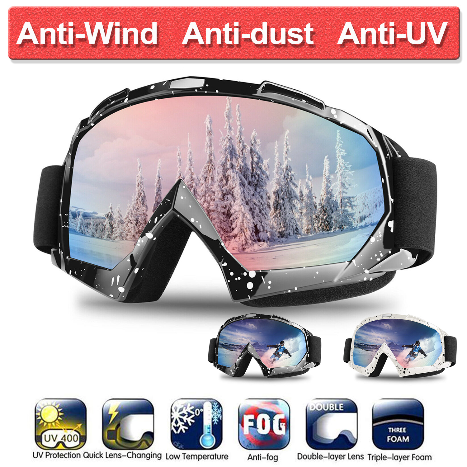 Ski Goggles Winter Snow Sports Snowboard Goggles With Anti-fog UV Protection For Men Women Snowmobile Skiing Skating Mask D30