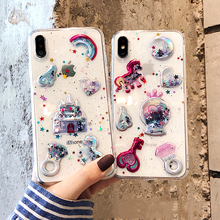 3D Cartoon Glitter Quicksand Unicorn Phone Case For iPhone 11 Pro max X XS MAX XR 6 7 8 Plus Ice Cream Candy Soft TPU Cover