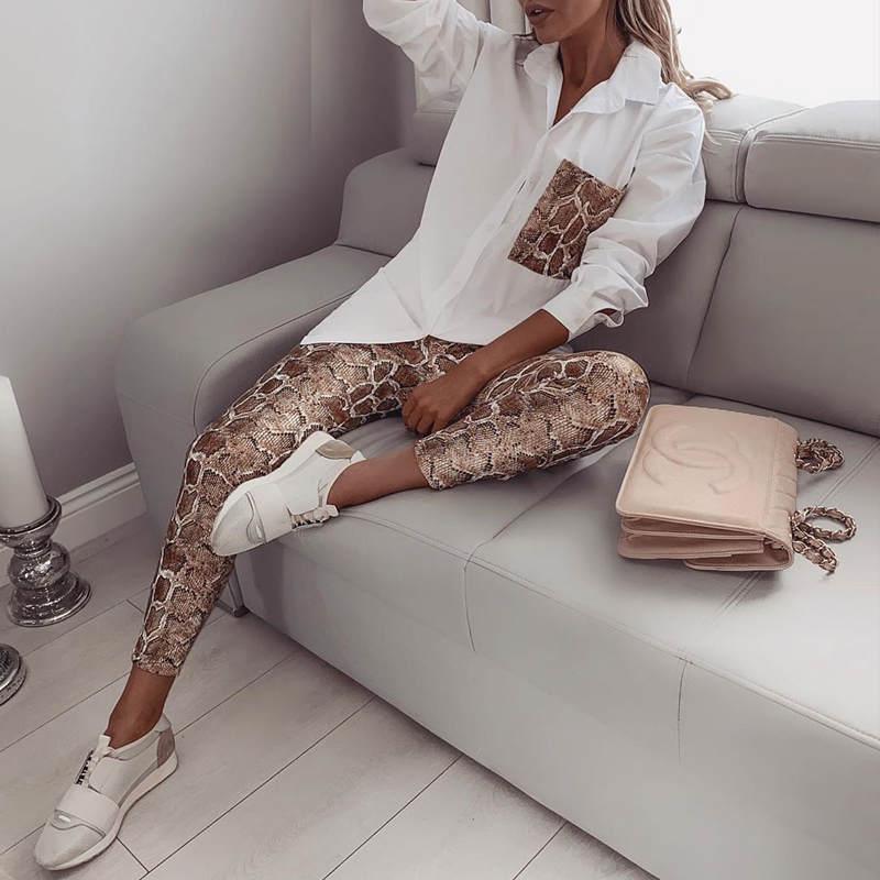 Two Piece Set Women Streetwear Snake Contrast Pocket Top Pants Design Pants Set Fashion Autumn Casual Clothes 2019 Tracksuits