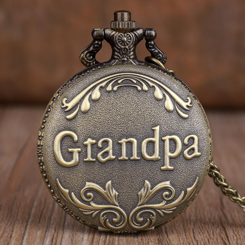New Antique Retro Grandpa Design Quartz Pocket Watch Bronze Necklace Chain Top Unique Art Collectibles Gifts For Grandpa
