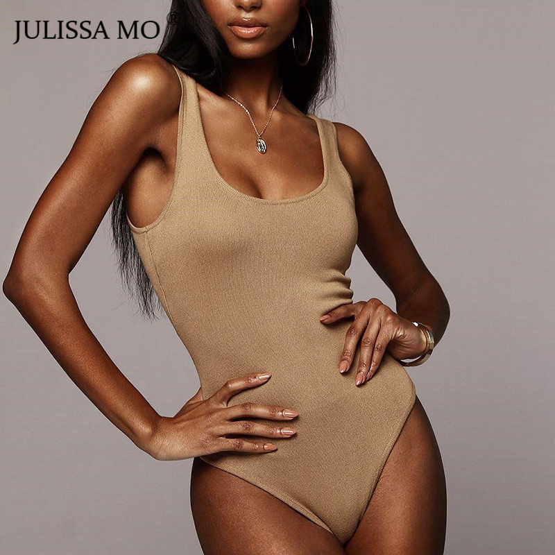 JULISSA MO Black Cotton Sexy Bodysuit Women Tops Summer U-Neck Sleeveless Skinny Rompers Womens Jumpsuit 2019 New Basic Bodysuis