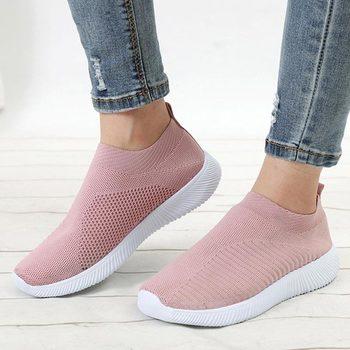 Damskie trampki 2020 nowe damskie buty wulkanizowane dziewiarskie damskie buty komfortowe damskie mieszkania mokasyny damskie Plus Size tanie i dobre opinie miaoguan Mesh (air mesh) CN (pochodzenie) Szycia Stałe Cotton Fabric Wiosna jesień Mieszkanie (≤1cm) Gumką Pasuje prawda na wymiar weź swój normalny rozmiar