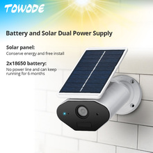 Towode HD 960P WiFi Solar Power Camera Waterproof WiFi IP Camera Surveillance  Bullet Camera with 18650 Battery TF Card