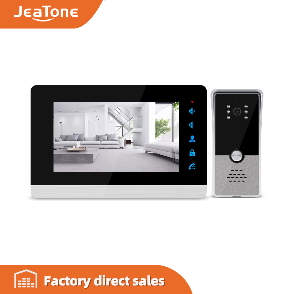 Jeatone 7'' Video Intercom Video Door Phone System, 600TVL Wide Angle Degree/Day And Night Vision, Support English And Russian