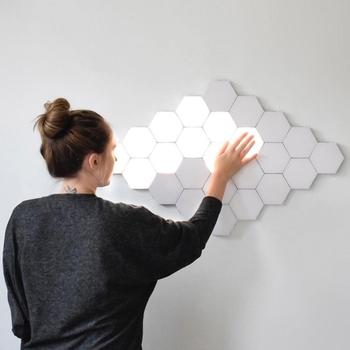 Fss Quantum Lamp LED Modular Touch Lamp Touch Sensitive Wall Light Telhas magnéticas hexagonais Night Lights Arandela de parede 1
