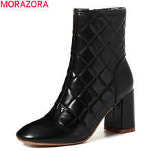 MORAZORA 2020 New arrival fashion ankle boots genuine leather boots thick high heels square toe solid color women boots(China)