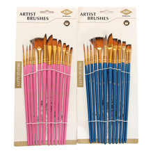 12 Stuks Nylon Art Penselen Aquarel Kwast Verscheidenheid Stijl Houten Handvat Olie Acryl Schilderen Brush Pen Kunst Levert