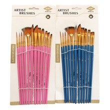 12Pcs Nylon Art Brushes Watercolor Paint Brush Variety Style Wooden Handle Oil Acrylic Painting Brush Pen Art Supplies