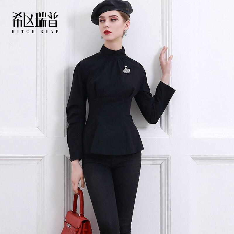 High End Stand Collar Shirt Women'S Versatile Temperament Celebrity Design Sense Niche Top