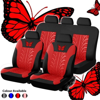 Universal Car Seat Cover Set Butterfly-Pattern Full  Auto Styling Interior Accessories