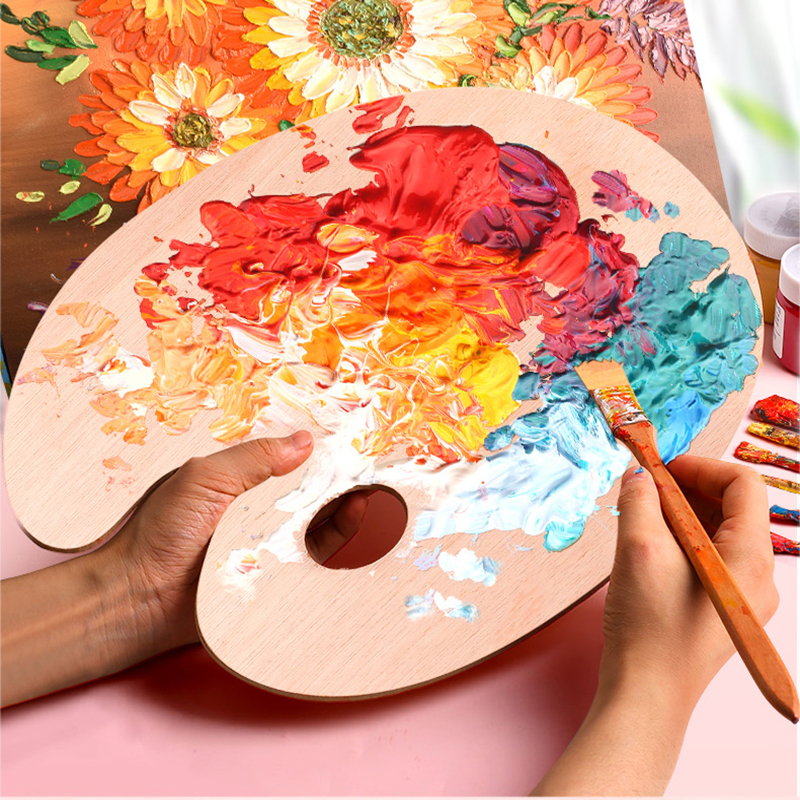 1pc Watercolor Palette Oil Acrylic Painting Tool Art Alternatives Paint Tray Artist Plastic Wood Supply Kids Students ACT020