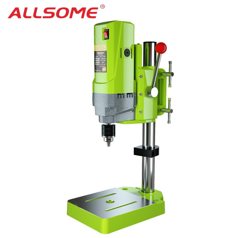 ALLSOME 710W BG-5156E Bench Drill Stand Mini Electric Bench Drilling Machine Vise Mini Precision Milling Machine Worktable