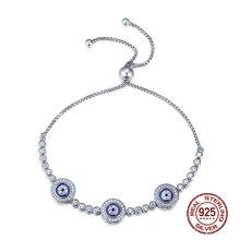 Women 925 Sterling Silver Bracelet Femme Luxury Cubic Zirconia Blue Eyes Adjustable Bracelets New Trendy Party  Jewelry Gifts