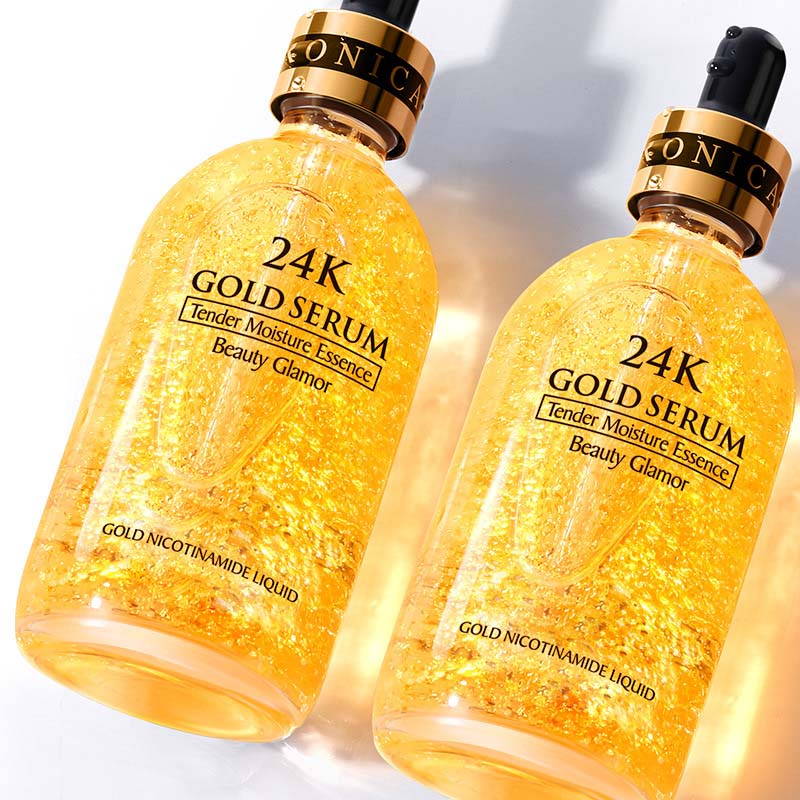 24K Gold Tense Moisture Essence Face Securm Pure Hyaluronic Acid Serum Anti-wrinkle Gold Nicotinamide Liquid Skin Care Essence