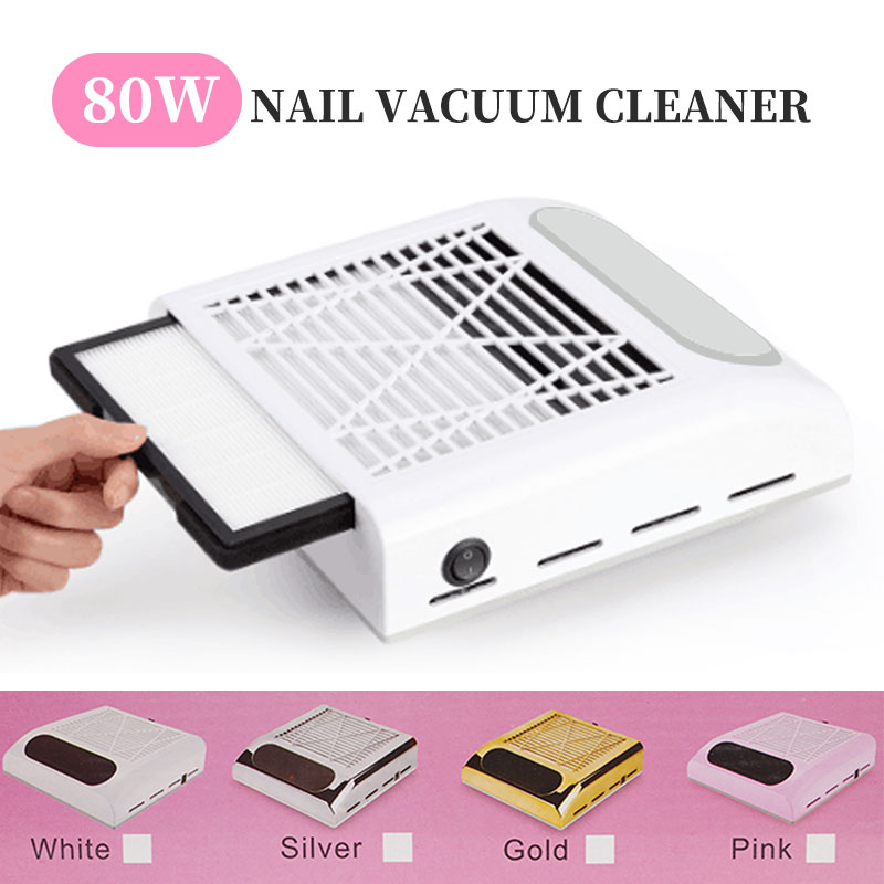 80W Nail Dust Collector Fan Vacuum Cleaner Manicure Machine Tools With Filter Strong Power Nail Art Tool Nail Vacuum Cleaner
