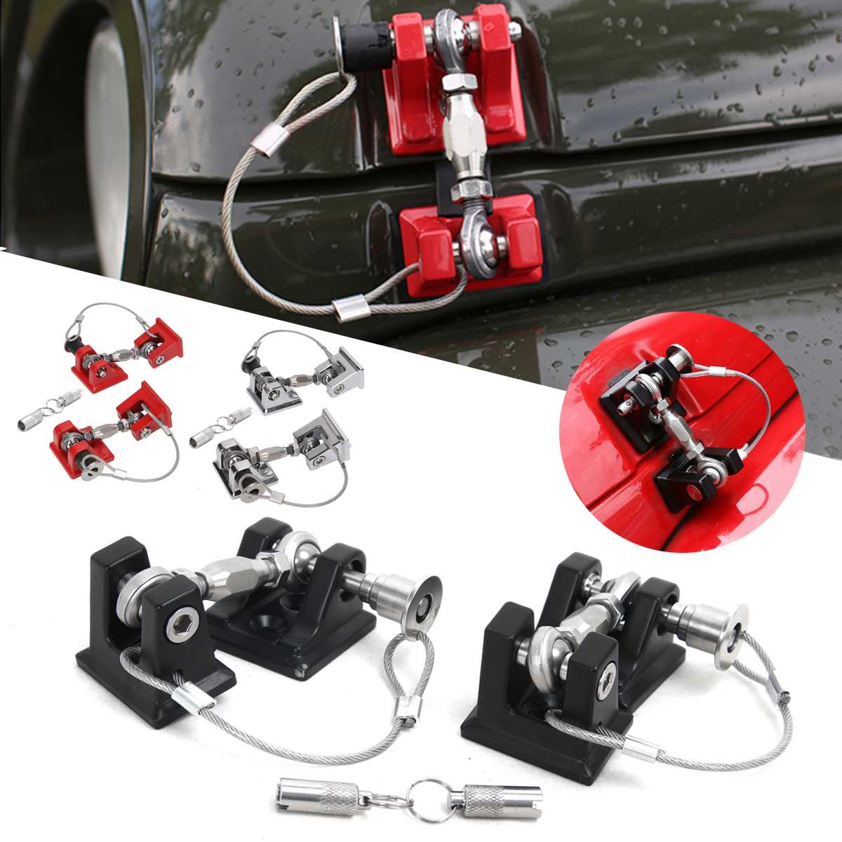 Black/Silver/Red 2pcs Car Engine Hood Catch Lock Kit Latches Catch Locking Anti-Theft Buckle For Jeep For Wrangler JK 2007-2017