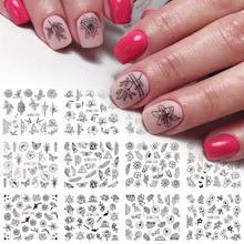 12 Different Black Flower Leaf Nail Sticker Decal Floral Butterfly Hollow Printing Water Slider Set Manicure Wraps LEBN1189 1200