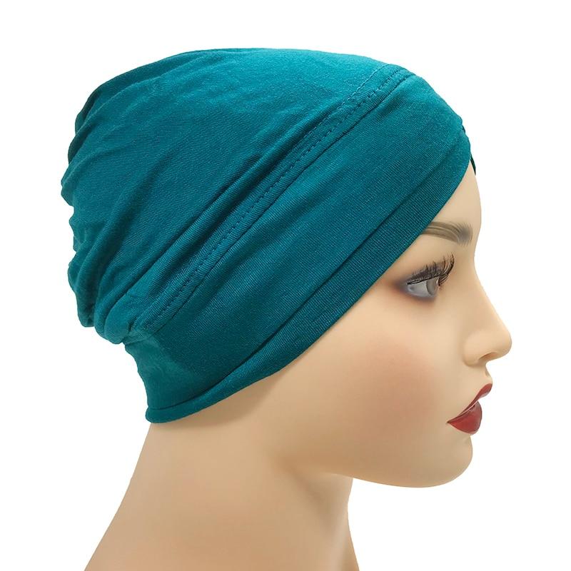 Image 3 - 1PCS Hot sale Modal Muslim Headscarf Women Criss cross tube hat  Underscarf Islamic inner Cap Lady Hat Muslim Hijab 28 colorsIslamic  Clothing
