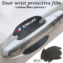 4pcs Carbon Fiber Car Door Handle Scratch Protector Leather Stickers For Chevrolet Cruze 2011 2012 2013 2014-2020 Accessories(China)