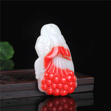 Natural Red White Jade Magnolia Flower Pendant Necklace Chinese Hand-Carved Charm Jewelry Fashion Amulet for Men Women Gifts natural red stone hand carved pendants red jade sweater chain buddha pendant chinese style necklace jewelry collection of gifts