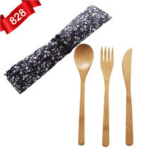 3pcs/set Japanese Style Bamboo Wooden Cutlery Set Fork Cutter Cutting Reusable Kitchen Tool With Bag Useful Kitchen Cooking Tool(China)