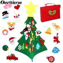 OurWarm New 3 in 1 DIY Felt Christmas Tree with Xmas Ornaments Children Gift For Home Decoration Fake Toy