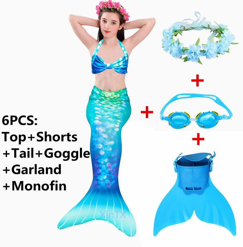 2019 New!Little Mermaid Tails For Swimming Costume Mermaid Tail Monofin Kids Swimmable Bikini Swimsuit Dress With Fin Swimwear