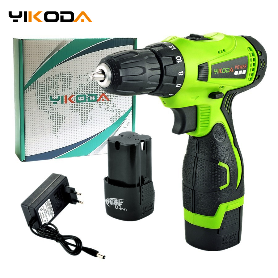 YIKODA 16.8V Electric Screwdriver Double Speed Rechargeable Cordless Drill Lithium Battery Mini Driver Household Power Tools