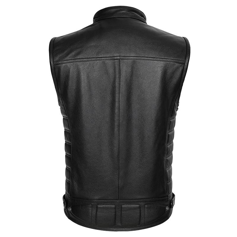 Image 2 - Real Leather Biker Vest Mens Stand Collar Zipper Pockets Motorcycle Vest Jackets Waistcoat Genuine Cow Leather Black SlimGenuine Leather Coats   -