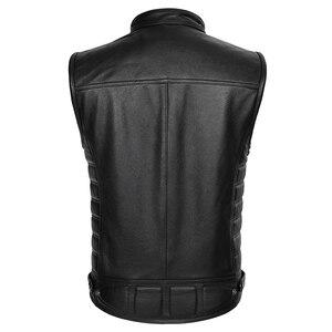 Image 2 - Real Leather Biker Vest Mens Stand Collar Zipper Pockets Motorcycle Vest Jackets Waistcoat Genuine Cow Leather Black Slim