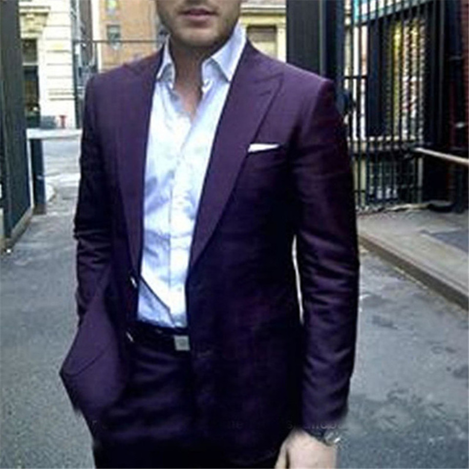 New Men's Suit Smolking Noivo Terno Slim Fit Easculino Evening Suits For Men Dark Purple Men Suit 2 Pieces Formal Party Tuxedos(