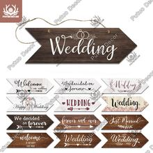 Putuo Decor Wedding Arrow Wooden Sign Wood Plaque Welcome Guide Board for Marry Wedding Scene Sweet Love Hanging Irregular Sign