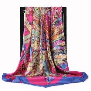 Image 4 - 2020 90*90 Cm Vuông Nữ Khăn Choàng Cổ Lụa Công Sở Nữ Tóc Cổ Bandanna Đầu Foulard Headcloth Hồi Giáo Khăn Trùm Đầu nữ