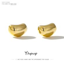 Yhpup minimalistyczny koreański geometryczny stadniny kolczyki metalowe szczęście fasola marka kolczyki dla kobiet Party biżuteria prezent nowy Bijoux S925 tanie tanio Miedzi CN (pochodzenie) GEOMETRIC Kobiety Klasyczny Moda YH206A Push-powrotem S925 Silver Post