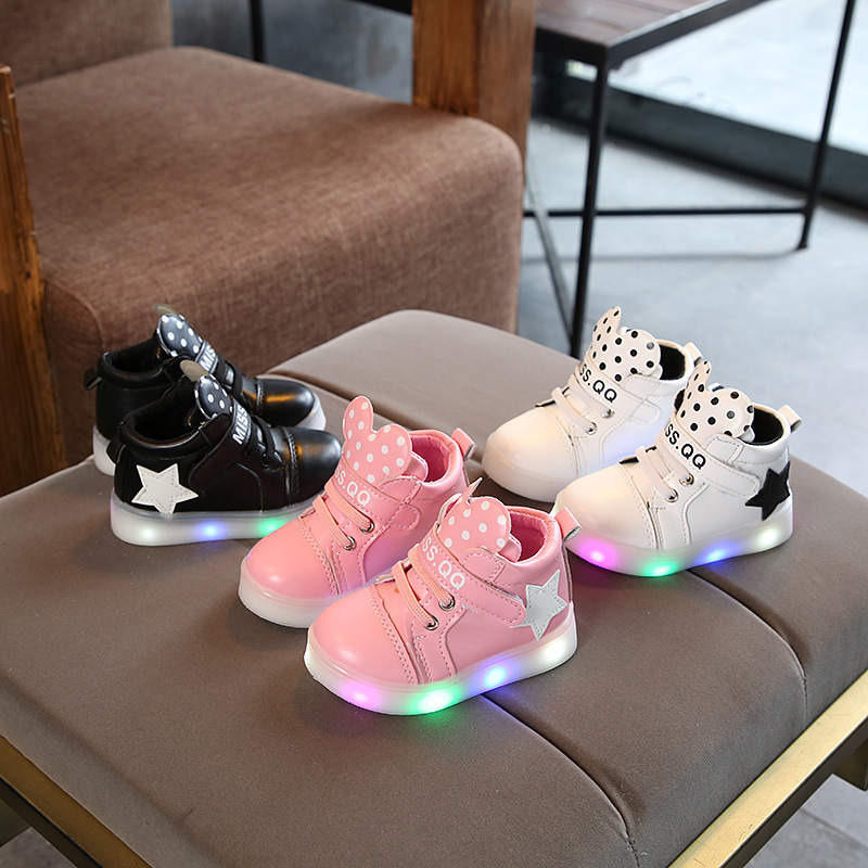 Led Luminous Cartoon Baby Shoes Comfortable Soft Soled Rubber Children Running Sneakers Suitable To 1-12 Years