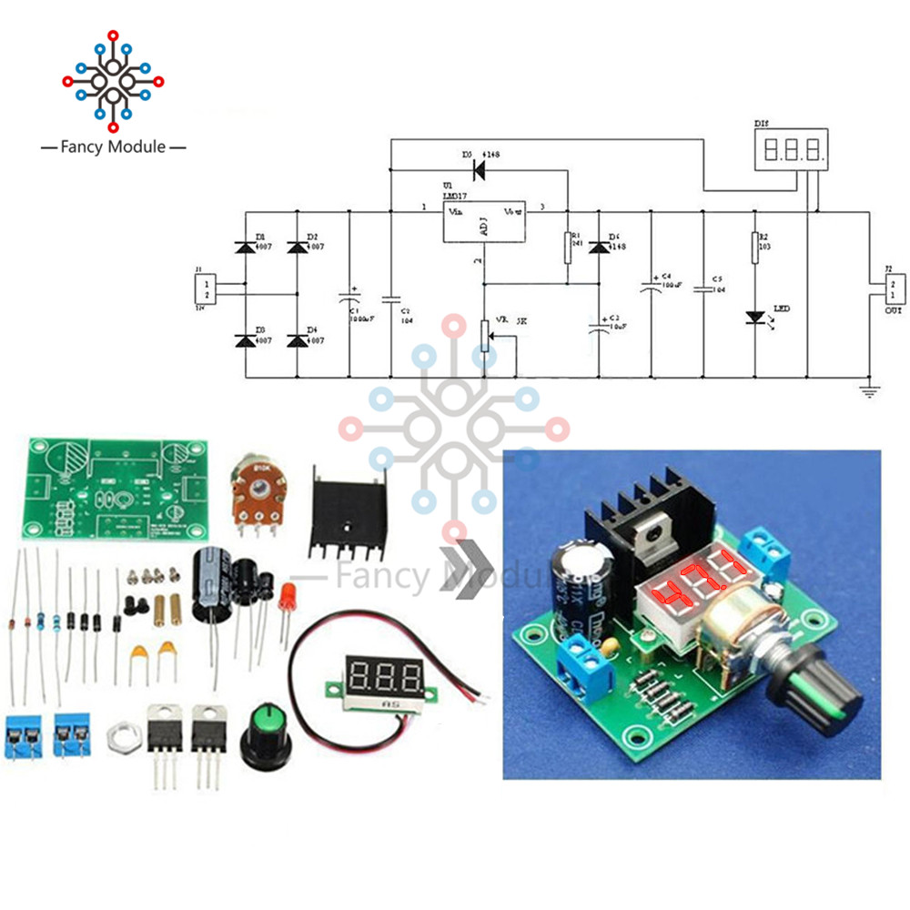 DIY Kit Electric LM317 Adjustable Voltage Regulator Step Down Power Supply Module With LED Meter Board