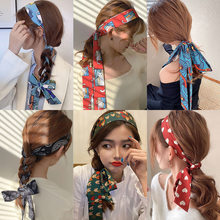 2021 New Lengthened Fashion Woman Ribbon Headband For Hair French Style Silk Women's Bandana Summer Sweet Bow Hair accessories