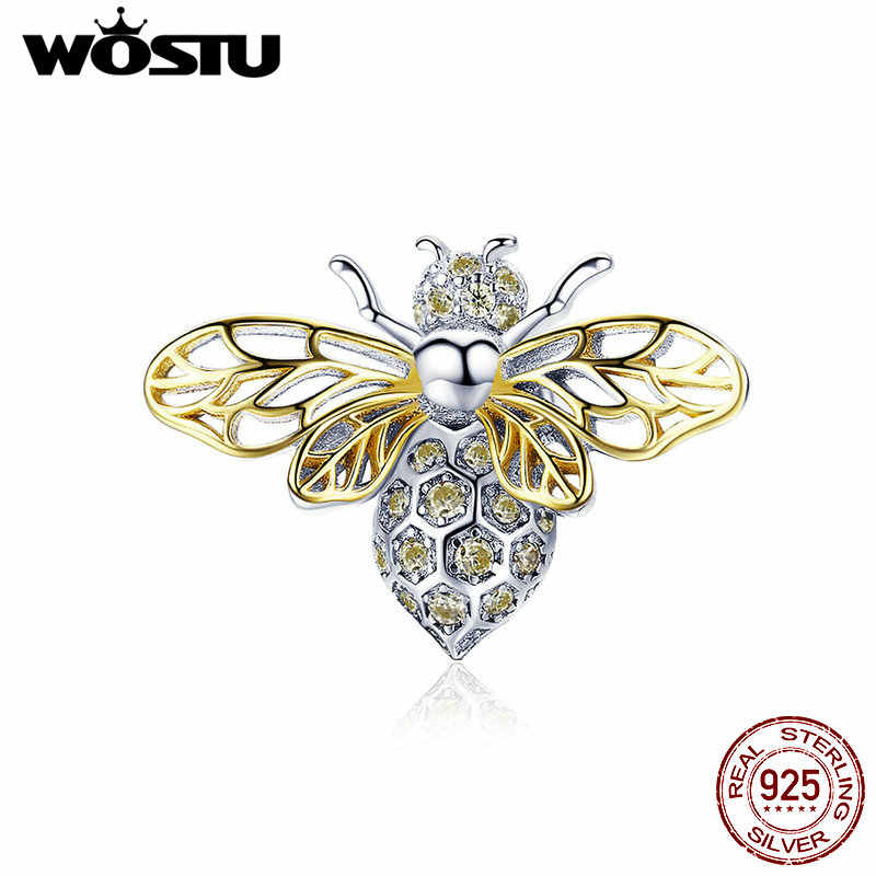 WOSTU 925 Sterling Zilver Lente 2019 Animal Bee Charm Gold CZ Bead Fit Originele Armband Hanger Charms Sieraden Maken CTC067