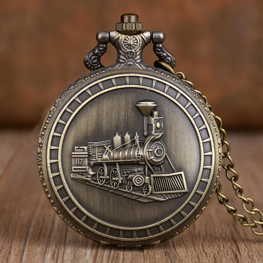 New Bronze Train Front Locomotive Engine Pocket Watches Necklace Pendant Quartz Pocket Watch With FOB Chain Mens Womens Gifts