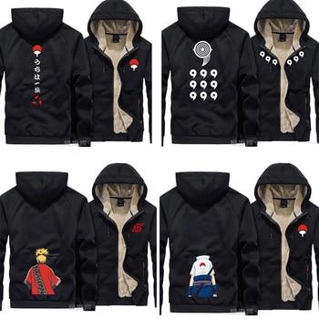 New Uzumaki Naruto hoodie cosplay Ootutuki Hagoromo Sasuke Uchiha Men warm coat jacket Winter Zip Up Hooded Thick Sweatshirt