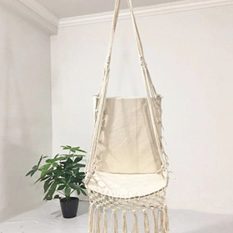 Hf8f447dc86a24264b2e0e5abde80787aD Nordic Style Hammock Safety Beige Hanging Hammock Chair Swing Rope Outdoor Indoor Hanging Chair Garden Seat for Child Adult