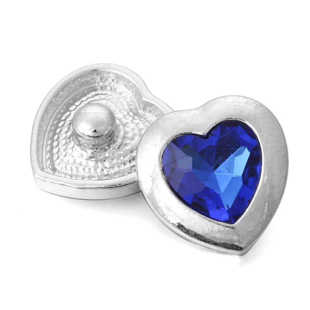 6 pcs/lot nouveau bouton pression coeur 20mm 18mm boutons pression en métal Fit Snap Bracelet Bracelet Bracelet collier bijoux à breloques
