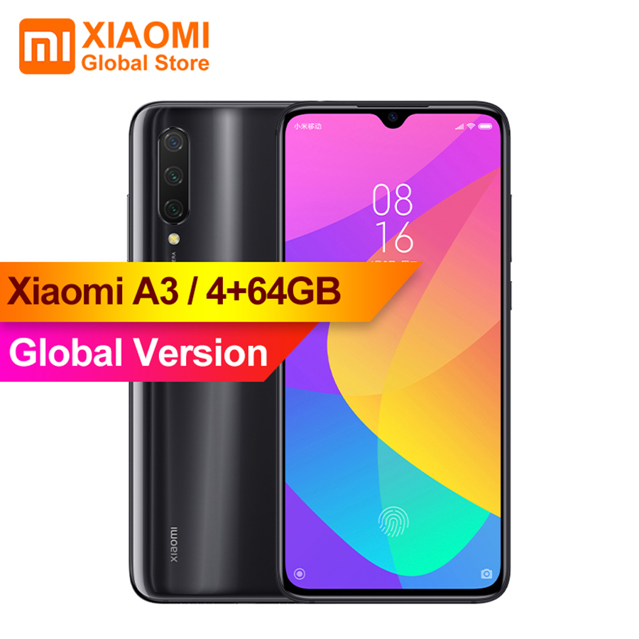 Version mondiale Xiao mi A3 4GB 64GB 4030mAh 48MP Snapdragon 665 Octa Core Triple caméra capteur d'empreintes digitales téléphone portable CC9E