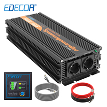 EDECOA saf sinüs dalga invertör 3500w DC 24v AC 220v 230v 7000w tepe güç güneş invertör uzaktan kumanda ile