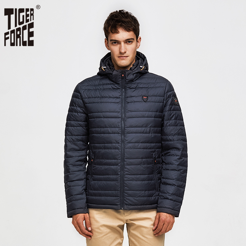TIGER FORCE 2019 Men Jacket Spring Fashion Cotton Padded Coat With Hoody Solid Color Detachable Hooded Men's Outerwear Parka