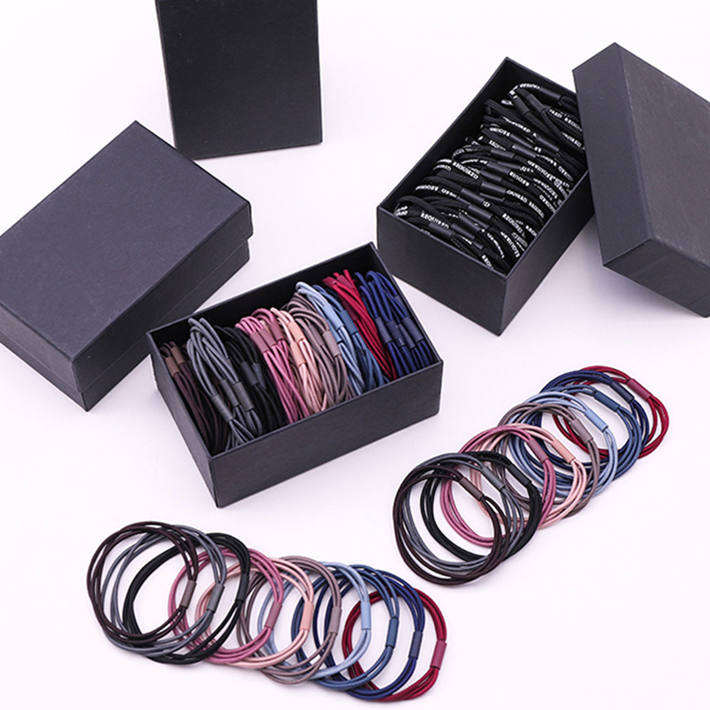1Set Box Packed Women Elegant Colorful Basic Elastic Hair Bands Ponytail Holder Scrunchie Rubber Bands Headband Hair Accessories