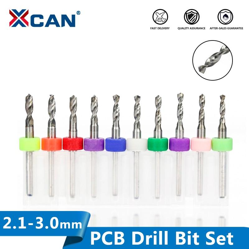 XCAN 10pcs 2.1mm To 3.0mm PCB Drill Bit Set For Drilling Print Circuit Board Carbide CNC Machine Mini Drill Bits